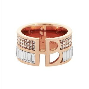 Henri bendel rose gold split deco ring size 7